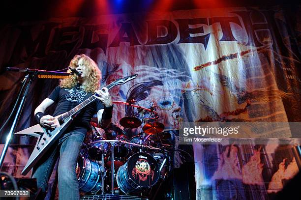 Dave Mustaine and Megadeth perform in support of the band's 'United Abominations' release at the HP Pavilion on April 24 2007 in San Jose California