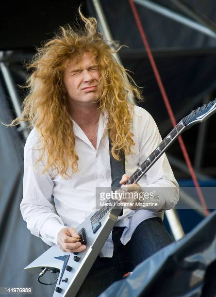 Dave Mustaine of American heavy metal band Megadeth live on stage at Sonisphere festival June 16 Warsaw