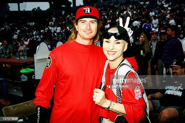 Dave Mustaine of Megadeth and Susan Powter at the MTV's 5th Annual Rock 'n Jock Softball at in Long Beach California
