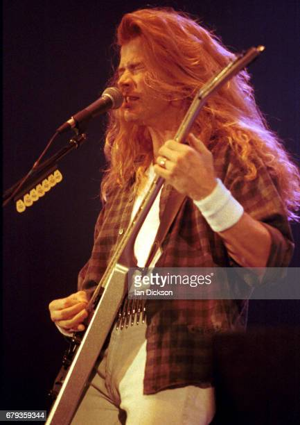 Dave Mustaine of Megadeth performing on stage at Hammersmith Odeon London 30 September 1992