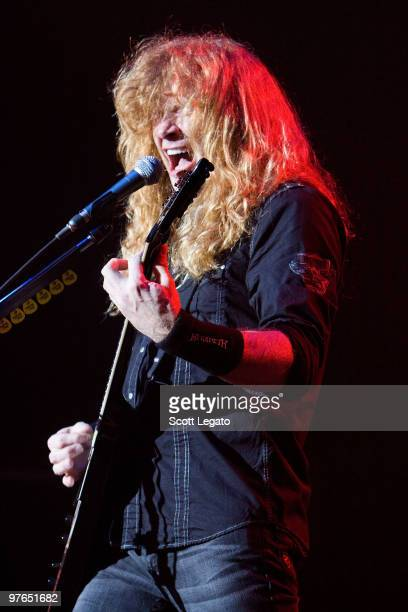 Dave Mustaine of Megadeth performs at the Egyptian Room Murat Centre on March 11 2010 in Indianapolis Indiana