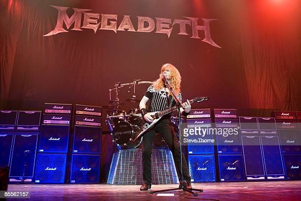 Dave Mustaine of Megadeth performs on stage as part of the Priest Feast Tour at the LG Arena on February 14, 2009 in Birmingham.