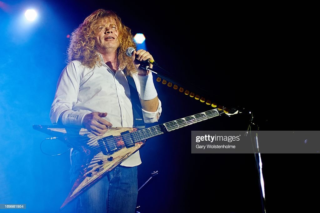 Dave Mustaine of Megadeth performs on stage at Manchester Academy on June 5, 2013 in Manchester, England.