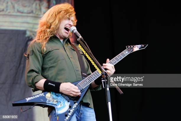 Dave Mustaine of Megadeth performs on stage on June 10th 2005 at day one of the Download Festival in Donington Park England