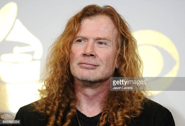 Dave Mustaine of Megadeth poses in the press room at the 59th GRAMMY Awards at Staples Center on February 12 2017 in Los Angeles California
