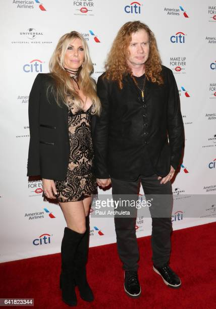 Dave Mustaine of the Metal Band Megadeth and His Wife Pamela Anne Casselberry attend Universal Music Group's 2017 GRAMMY after party at The Theatre...