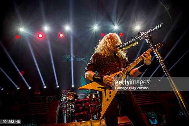 Dave Mustaine performs during Megadeth concert as part of Dystopia World Tour at Luna Park on August 22 2016 in Buenos Aires Argentina