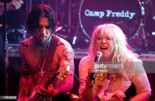 Dave Navarro and Courtney Love during Camp Freddy Benefit Concert for South East Asia Tsunami Relief at Key Club in Hollywood California United States