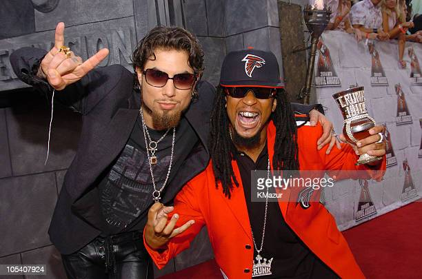 Dave Navarro and Lil' Jon during MTV Movie Awards 2004 Red Carpet at Sony Pictures Studios in Culver City California United States