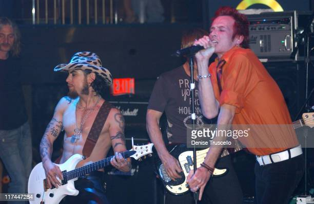 Dave Navarro Chris Chaney and Scott Weiland during Sony Computer Entertainment America Celebrates the Debut of the PSP Handheld with a Performance by...
