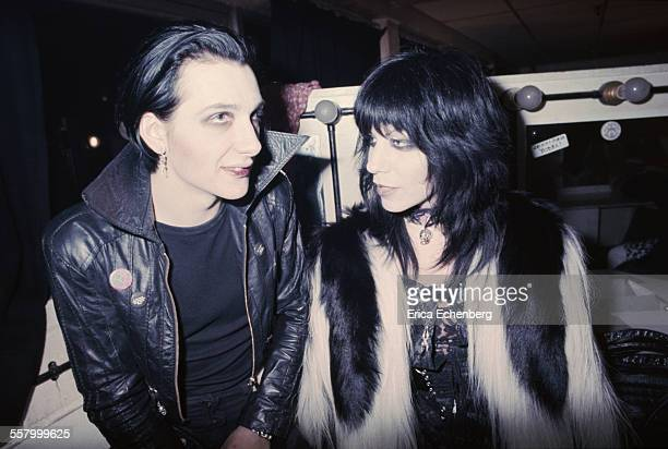 Dave of The Damned with wife and Laurie Vanian, backstage at The Roundhouse, Camden Town, London, United Kingdom, December 1977.