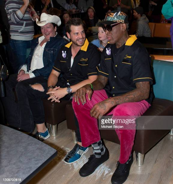 Dave Osokow and Dennis Rodman talk bowling strategies at 3rd Annual Mammoth Film Festival Red Carpet Saturday on February 29 2020 in Mammoth Lakes...