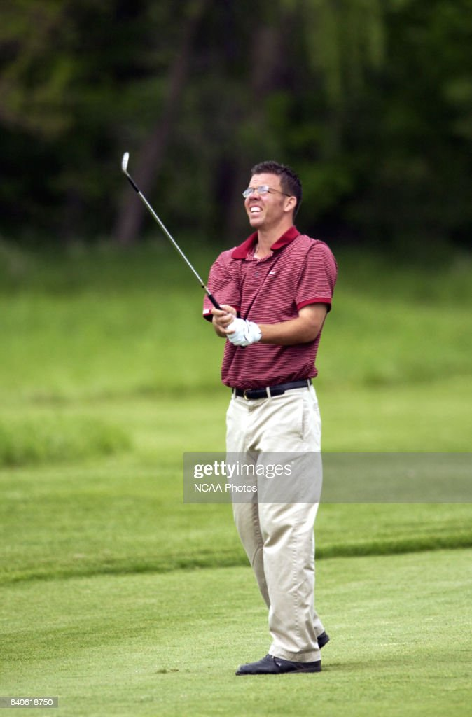 Dave Patterson of Guilford College watches his approach shot during