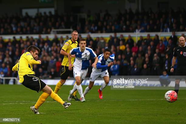 Dave Pearce of Chesham United misses from the penalty spot as goalkeeper Lee Nicholls of Bristol Rovers saves during the Emirates FA Cup first round...