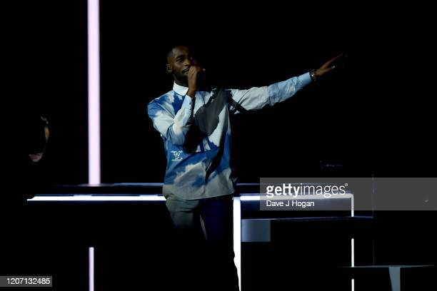 Dave performs on stage at The BRIT Awards 2020 at The O2 Arena on February 18 2020 in London England