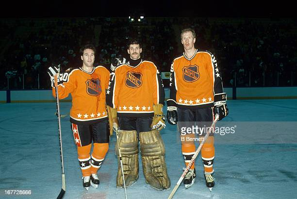 Dave Poulin goalie Ron Hextall and Kjell Samuelsson of the Wales Conference and the Philadelphia Flyers pose for a portrait before the 1988 39th NHL...