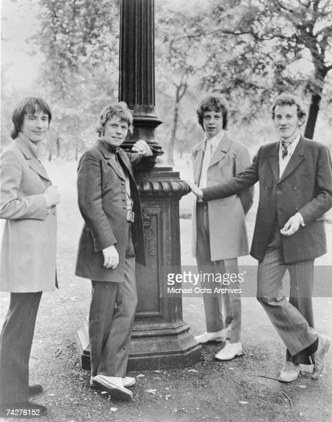 """Dave Pritchard, Greg Masters, Jeff Lynne, and Roger Spencer of the rock band """"The Idle Race"""" poses for a portrait in circa 1968."""