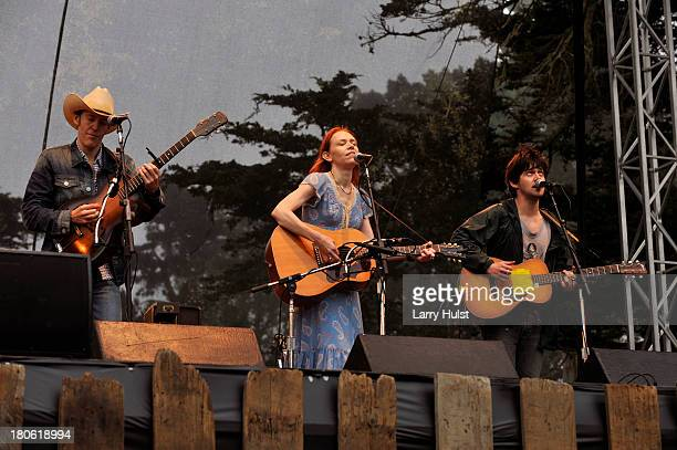 Dave Rawlings and Gillian Welch with Conor Oberst performs at The Hardly Strictly Bluegrass festival in Golden Gate Park in San Francisco California...