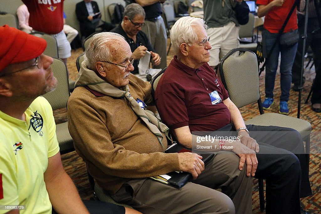 Dave Rice (L), 84, of Petaluma, California and Dave Knapp (R), 86, of Guilford, Connecticut listen at a news conference announcing that the Boy Scouts would permit openly gay youths to particpate in scout activities, at the Great Wolf Lodge May 23, 2013 in Grapevine, Texas. The Scouts left intact its ban on gay adults and leaders. Knapp was removed in 1993 for being openly gay while Rice was removed in 1998 or supporting gay rights issues.