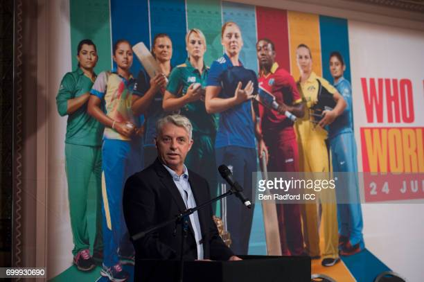 Dave Richardson Chief Executive Officer of the ICC speaking during the launch of the ICC Women's Cricket World Cup on June 22 2017 in London England
