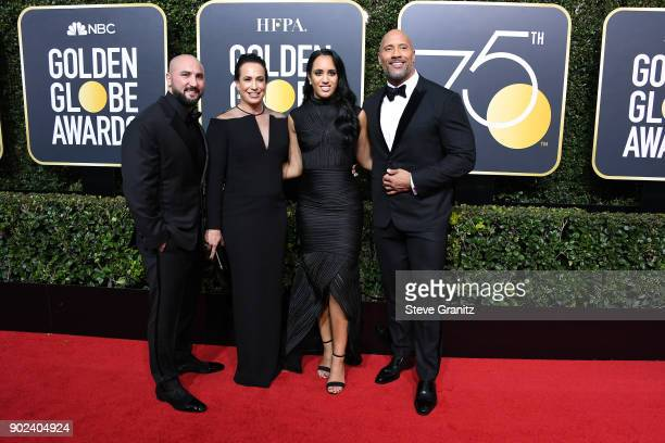 Dave Rienzi producer Dany Garcia Golden Globe Ambassador Simone Garcia Johnson and actor Dwayne Johnson attend The 75th Annual Golden Globe Awards at...