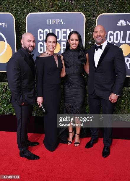 Dave Rienzi producer Dany Garcia Simone Garcia Johnson and actor Dwayne Johnson attends The 75th Annual Golden Globe Awards at The Beverly Hilton...
