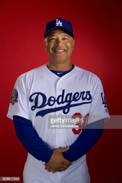 Dave Roberts of the Los Angeles Dodgers poses during MLB Photo Day at Camelback Ranch Glendale on February 22 2018 in Glendale Arizona