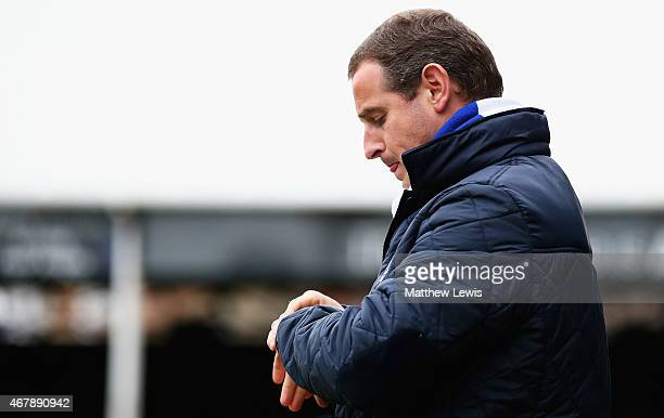 Dave Robertson manager of Peterborough United looks on during the Sky Bet League One match between Peterborough United and Coventry City at ABAX...