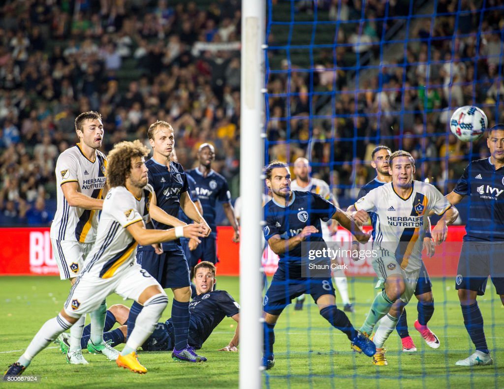 Dave Romney #4 of Los Angeles Galaxy heads the ball toward goal during the Los Angeles Galaxy's MLS match against Sporting KC at the StubHub Center on June 24, 2017 in Carson, California. Sporting Kansas City won the match 2-1