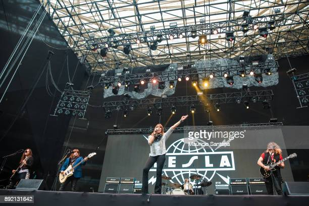 Dave Rude Brian Wheat Jeff Keith Troy Luccketta Frank Hannon members of the band Tesla performs live on stage at Allianz Parque on December 13 2017...