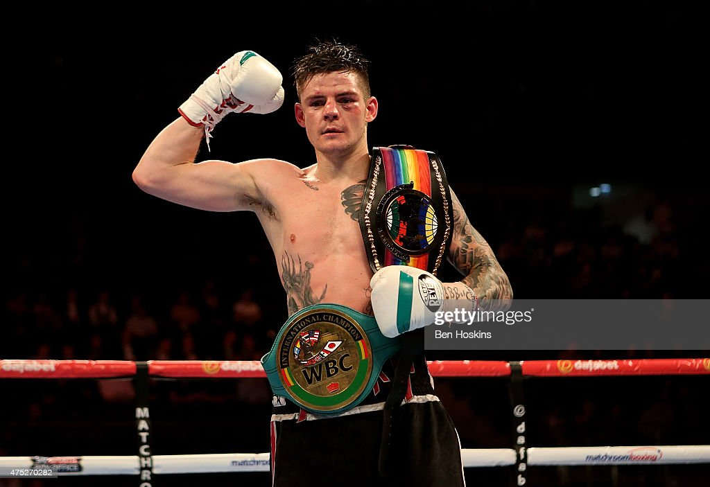 Dave Ryan of England poses after defeating John Wayne Hibbert of England in the Commenwealth and WBC International Light Welterweight fight at The O2 Arena on May 30, 2015 in London, England.