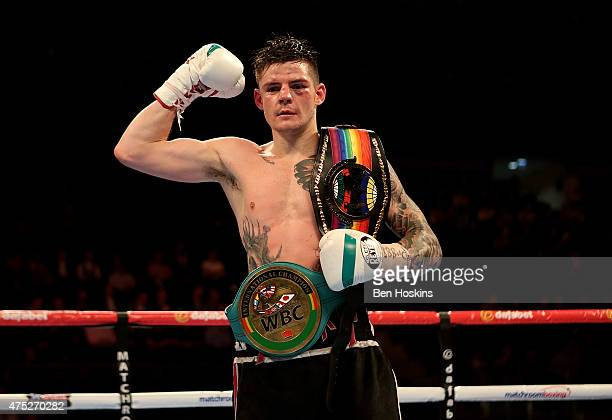Dave Ryan of England poses after defeating John Wayne Hibbert of England in the Commenwealth and WBC International Light Welterweight fight at The O2...