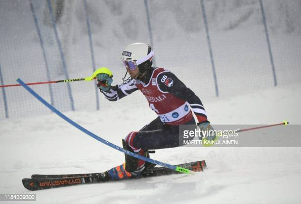 Dave Ryding of Britain competes in the first run of the FIS Alpine Ski World Cup men's slalom event at the Levi ski resort in Kittilä Finnish Lapland...