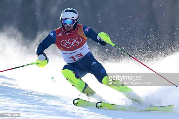 Dave Ryding of Great Britain competes during the Alpine Skiing Men's Slalom at Yongpyong Alpine Centre on February 22 2018 in Pyeongchanggun South...