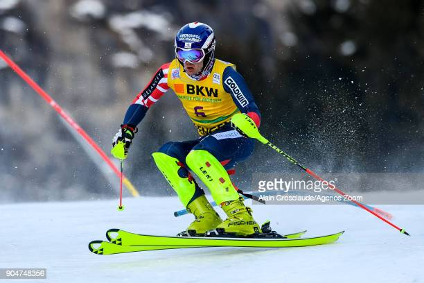 Dave Ryding of Great Britain competes during the Audi FIS Alpine Ski World Cup Men's Slalom on January 14 2018 in Wengen Switzerland