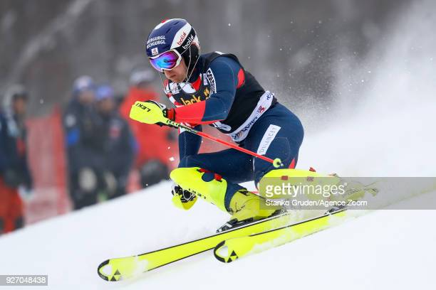 Dave Ryding of Great Britain competes during the Audi FIS Alpine Ski World Cup Men's Slalom on March 4 2018 in Kranjska Gora Slovenia