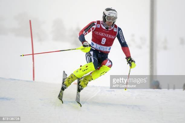 Dave Ryding of Great Britain competes during the first run of the Men's FIS Alpine Ski World Cup slalom race in Levi Kittilae Finland on November 12...