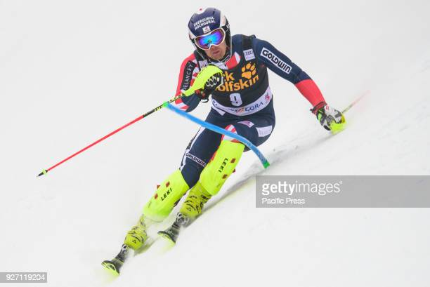 Dave Ryding of Great Britain competes during the Slalom race at the Vitranc Cup FIS World Cup