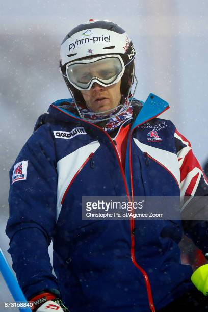 Dave Ryding of Great Britain inspects the course during the Audi FIS Alpine Ski World Cup Men's Slalom on November 12 2017 in Levi Finland