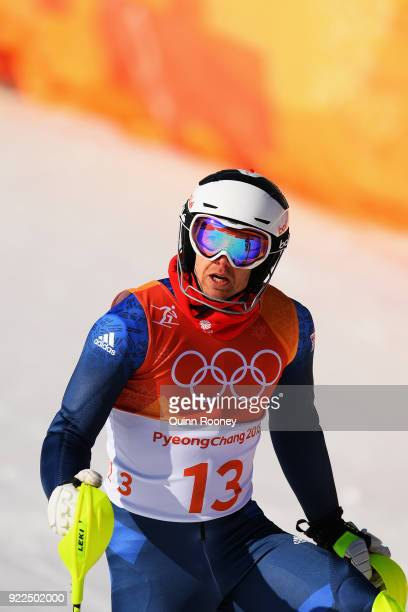 Dave Ryding of Great Britain reacts at the finish during the Men's Slalom on day 13 of the PyeongChang 2018 Winter Olympic Games at Yongpyong Alpine...