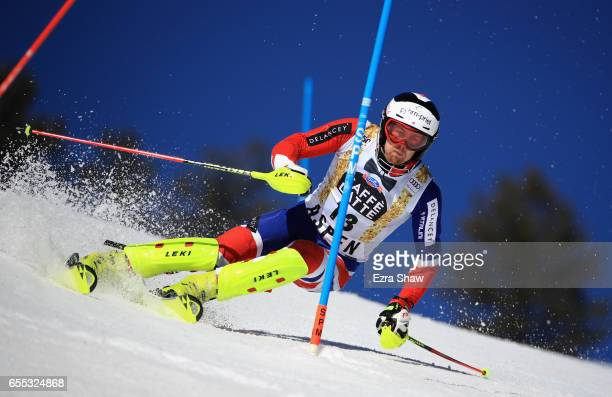 Dave Ryding of Great Britain skis his first run in the men's slalom during the 2017 Audi FIS Ski World Cup Finals at Aspen Mountain on March 19 2017...