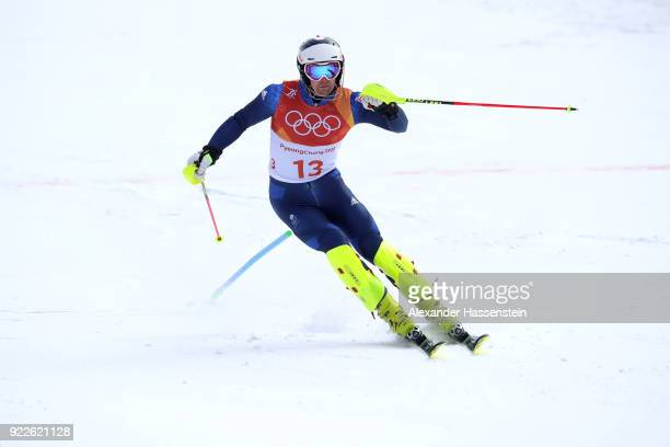 Dave Ryding of Great Britain skis into the finish area during the Men's Slalom on day 13 of the PyeongChang 2018 Winter Olympic Games at Yongpyong...