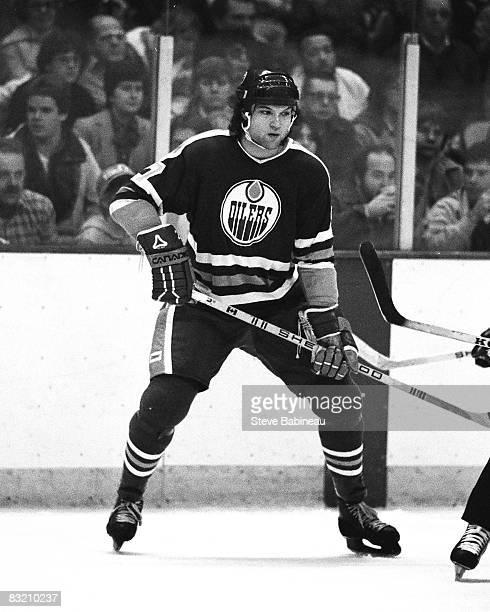 Dave Semenko of the Edmonton Oilers skates in game against the Boston Bruins at Boston Garden
