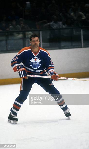 Dave Semenko of the Edmonton Oilers skates on the ice during an NHL game against the New York Rangers circa 1981 at the Madison Square Garden in New...
