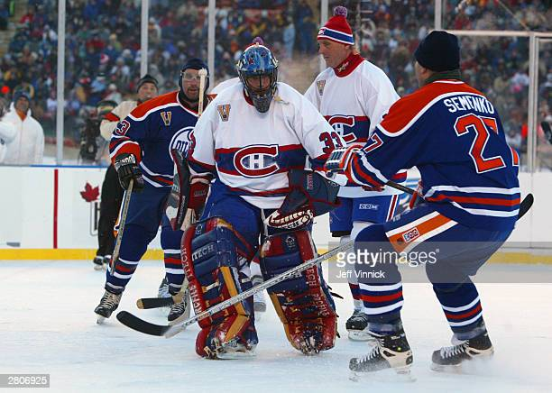 Dave Semenko of the Edmonton Oilers stops short of goaltender Richard Sevigny of the Montreal Canadiens during the Molson Canadien Heritage Classic...