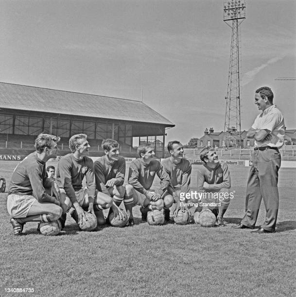 Dave Sexton , manager of League Division 2 team Leyton Orient, with the team's new players at the start of the 1965-66 season, UK, 9th August 1965....