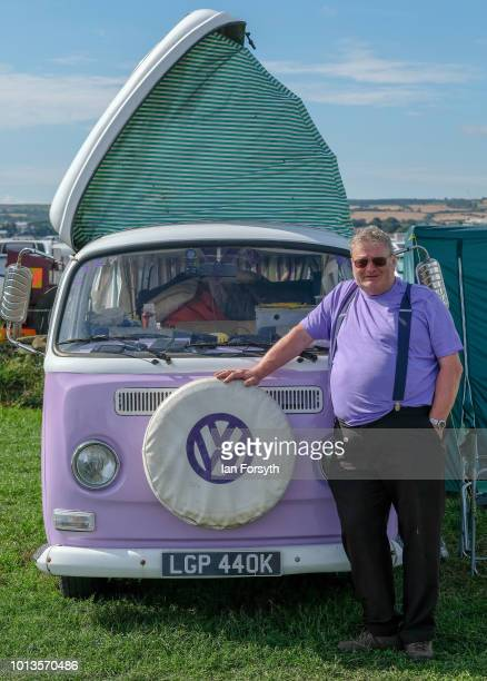 Dave Shepherd from Goole poses for a picture in front of his 1972 cross-over VW camper van called Willow during the final day of the Whitby Traction...