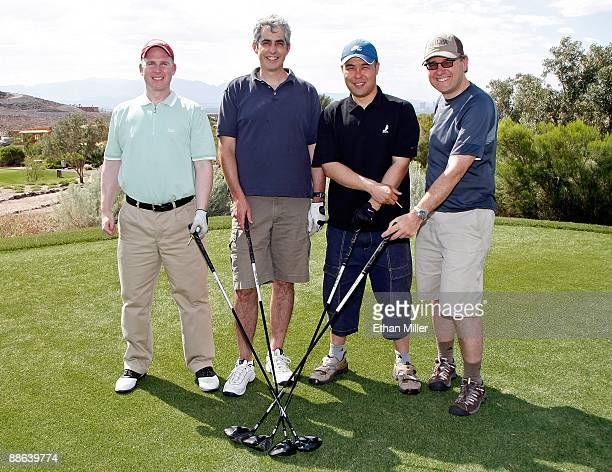 Dave Sinclair Ian Penny Roland Lee and Roman Stoykewych of the NHL Players Association pose for a photo during the NHLPA Golf Classic at the...