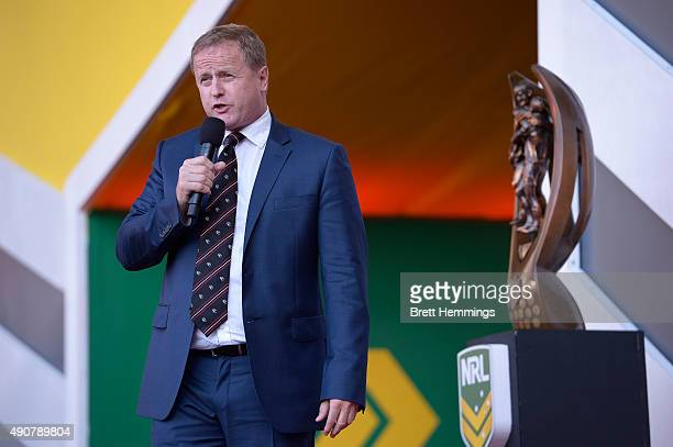 Dave Smith CEO of the NRL speaks on stage during the launch of NRL Nation at Darling Harbour on October 1 2015 in Sydney Australia