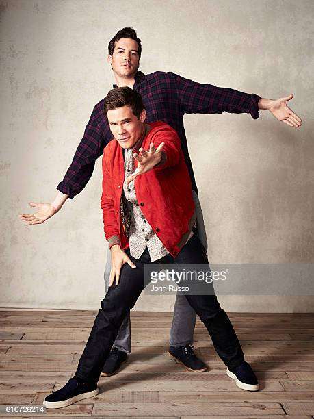 Dave Stangle and Adam DeVine from 'Mike and Dave Need Wedding Dates' are photographed for 20th Century Fox on May 26 2016 in Los Angeles California